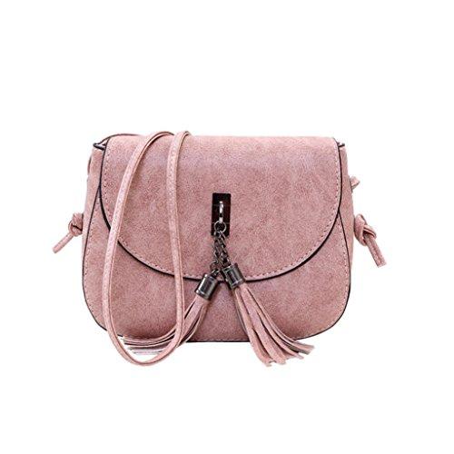 Schultertaschen für Damen Klein Jamicy® Damen Vintage Solid Haspe Quaste Messenger Flap Taschen Crossbody Shoulder Shell Taschen 7.28'' x 2.16'' x 5.5'' (Rosa) (Cross Body Flap Kleine)