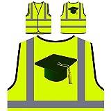 Blaue Abschlusskappe Personalisierte High Visibility Gelbe Sicherheitsjacke Weste r139v