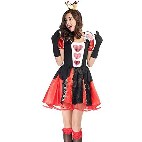 PAOFU-Königin der Herzen Sexy Kleid Kostüm Adult Cosplay,Halloween Karneval Verkleidungs Maskerade Kostüm,Groß Größe,Rot,M