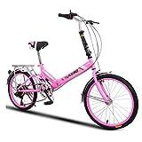 Pocket bikes d'enduro Vélo Pliant Universel pour Femme Jantes à 6 Vitesses et 20 Pouces Vélo Compact Pliable (Color : Pink, Size : 20 inch)
