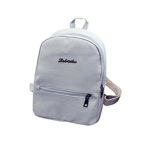 BZLine® Frauen Leder Tasche Travel Rucksack Ranzen Frauen Schulter Rucksack Grau