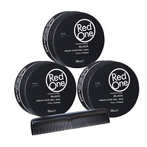 RedOne Aqua Hair Gel Wax Full Force Black 150ml 3 Stück + GRATIS Taschenkamm Stylingkamm Pomadenkamm