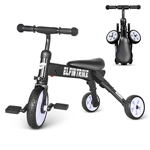 besrey 3 in 1 Baby Dreirad & Walker Faltbares Trike - Schwarz