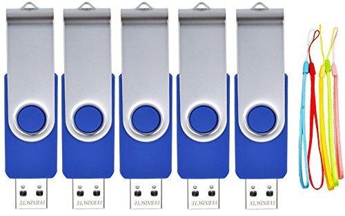 FEBNISCTE 5 Pacchetti 16GB USB 2,0 unità Memoria Flash Volte di Pollice a Forma Girevole Blu