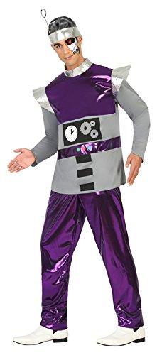 Atosa Disfraz Hombre Robot del Espacio Color Violeta XL 17196