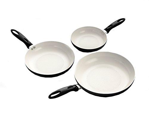 ExcelSteel Set of 3 Professional Aluminum Frypan W/Ceramic Nonstick Coating, Heat Resistant Flameguard and Bakelite Handle, 8