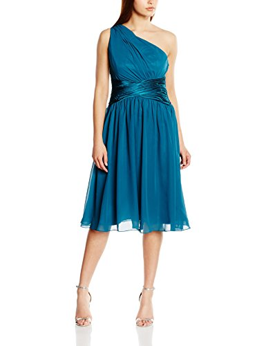 Astrapahl Damen Cocktail Kleid One Shoulder, Knielang, Einfarbig, Gr. 44, Türkis