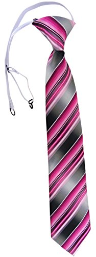 TigerTie Security Sicherheits Krawatte in rosa pink magenta anthrazit silber grau gestreift - vorgebunden mit Gummizug