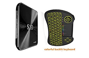 BGVIP 4K Smart R-TV Box S10 3GB/32GB Android 7.1OS Amlogic S912 64bit Octa-core WIFI 2.4G/5G BT4.1 with Colour Backlight Wireless Keyboard