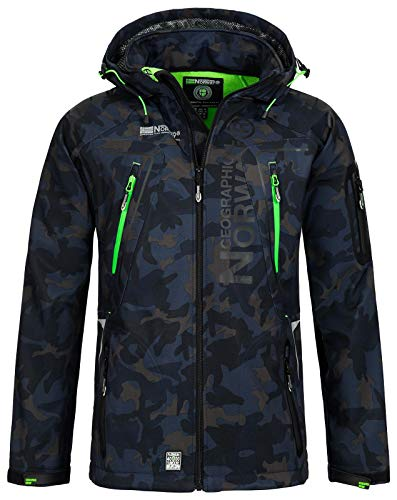Geographical Norway Herren Softshell Outdoor Jacke Tambour/Taco/Techno abnehmbare Kapuze Navy/Green XL