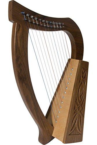 Roosebeck Baby keltische Harfe 12-saitigen W/Knotenmuster Design–Walnussholz