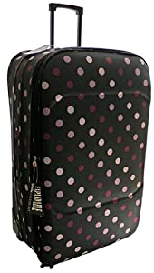 Extra Large 27 Inch Stars Super Lightweight Wheeled Suitcase Luggage Black Polka Dots