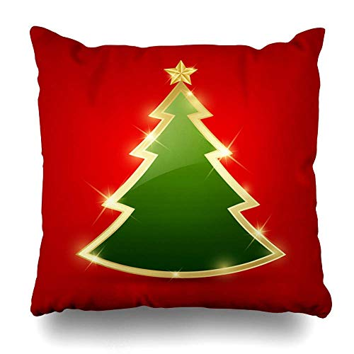 Red Fir, Red Lights (ZiJface Throw Pillows Covers Green Gold Simple Golden Glossy Christmas Tree Ornate Abstract Red Star Light Fir Xmas Merry Design Home Decor Pillowcase Square Size 18 x 18 Inches Cushion Case)