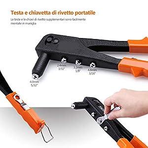 Remachadora profesional manual con pistola de remaches con 20 remaches 4 dados, 1 llave remachadora remaches aluminio para instalación móvil