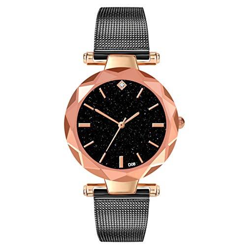 XZDCDJ Damen Uhr Armbanduhr Minimalistisches Sternzifferblatt mit Diamant-Edelstahlgitterarmband Uhr Jungen Uhr
