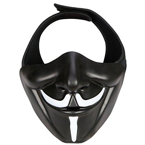 Kostüm Ninja Demon - XYLUCKY Samurai Airsoft Maske, Tactical Half Face Motorrad Evil Demon Knight Kabuki Maske für Halloween Cosplay Kostüm Jagd Schießen,Schwarz