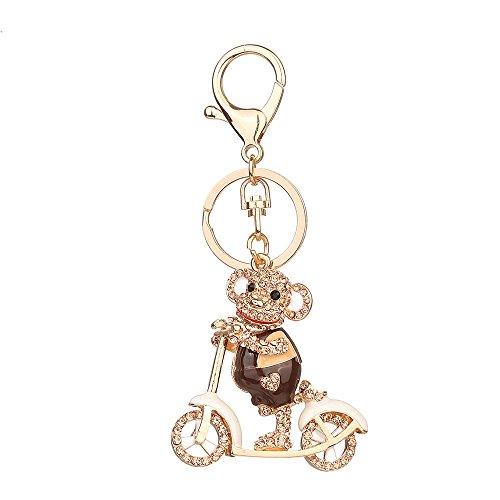 Porte-clés strass en cristal, Chickwin Cute Singe de mode Sac à main Porte-clés (Champagne)