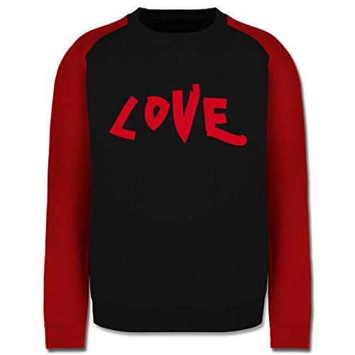 Romantisch - Love - Herren Baseball Pullover Schwarz/Rot