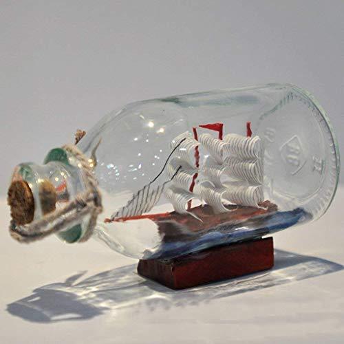Bottiglia in vetro con barca dei pirati a vela, ideale per decorare casa e ufficio