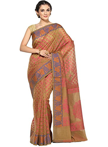 Banarasi Silk Works Supernet Cotton Saree With Blouse Piece(PTE115_Yellow_Free Size)