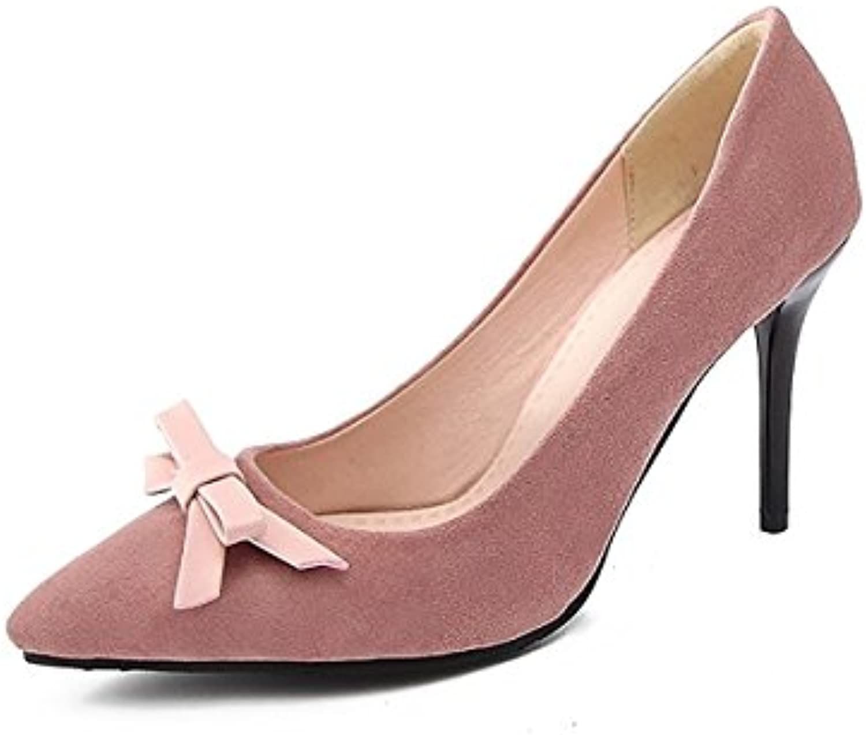 DIMAOL Damenschuhe Beflockung Frühling Sommer Basic Pumpe Heels Stiletto Heel Schuhe Bowknot für Hochzeit Partyö