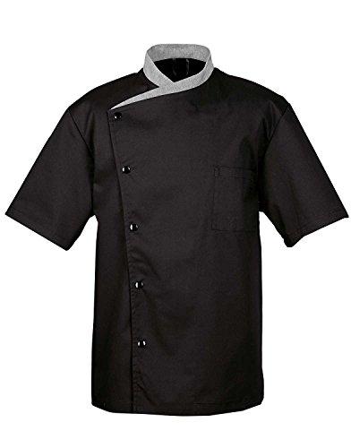 largo-manga-corta-cook-chef-camarero-camarera-abrigo-chaqueta-uniforme-negro-black-short-sleeves-l