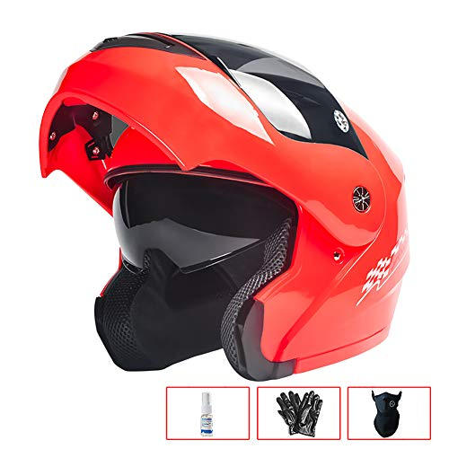 Motorradhelm mit freiliegender Oberfläche - Kopfumfang 54-59 cm - Full HD-Helm mit Full-Cover-Schutz,L
