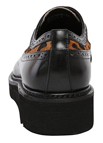 Riancess Mocassins homme Semell epais Chaussures de ville Cuir supérieur Fourrur de cheval Chaussures de ville Marron