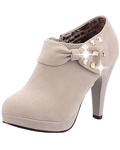 Minetom Damen Klassisch Vintage Schuhe Pumps High Heels Ankle Boots Brautschuhe Party mit Schleife Strass Grau EU 38 (Ankle Boot Ferse-lace Up)