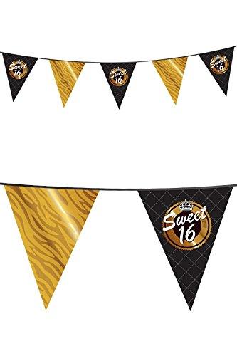 (Wimpelkette Niederlande 10 Meter Dreieckige Fähnchen Sweet 16 Schwarz Gold)