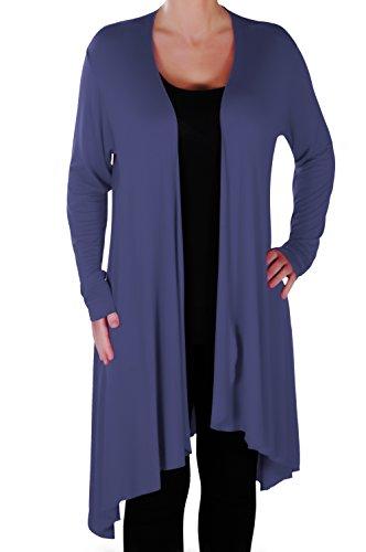 EyeCatch Plus - Della Asymmetrische Damen Freizeit Wasserfall Cardi Frauen Jersey Wrap Shrug Öffnen Strickjacke 42-56 Wrap Sweater Jacke