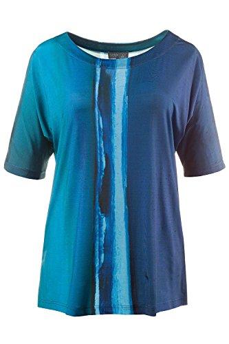 Ulla Popken Damen große Größen | Slinky-Druckshirt | ModernArt-Streifen | U-Boot-Ausschnitt | Fledermaus-Halbarm | Passform: CLASSIC | bis Größe 58+ | 708763 Blautürkis