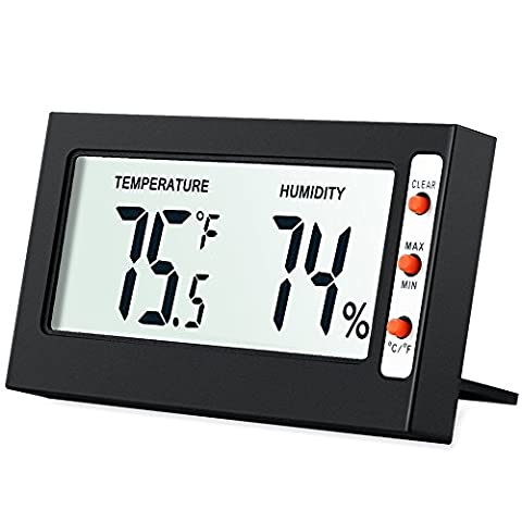 Amir LCD Digital Temperature Humidity Meter Thermometer, Mini Digital Thermometer Hygrometer and Humidity Gauge -Accurate Readings -(°C/°F) -Min/Max Records for Greenhouse, Cars, Home, Office (Black)