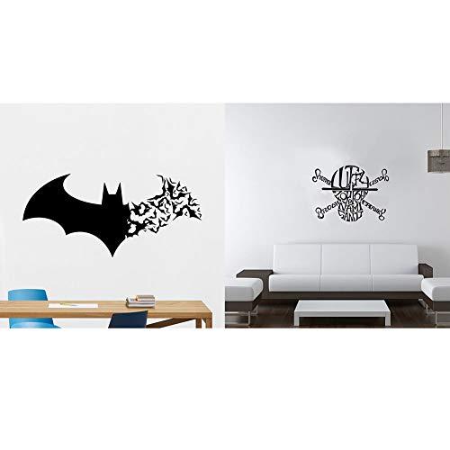 Jklkl 2 stili ciascuno 2 fogli, adesivi murali teschio pipistrello halloween, carta da parati impermeabile rimovibile, soggiorno cucina bagno camera da letto per bambini,4pack