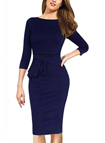 Minetom Damen Elegant Kleid 3/4 Arm Lotus Blattrand Business Knielange Stretch Abendkleider Blau DE 44 -