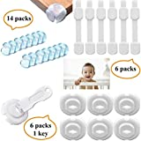 Tdas Baby Child Safety Locks Corner Guards Plug Protectors for Drawer Cupboard Fridge Sliding Door Cabinet Door Stopper Table Bed Wall 3M Adhesive Tape Electric Socket Covers – 26 Baby Proof Set