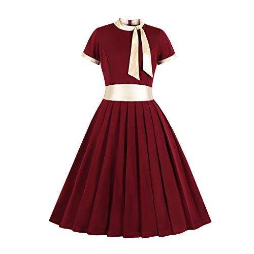 Womens Bow Stehkragen Kleider Partykleider 1950er Jahre Vintage Kleider Swing Stretchy Kleider -