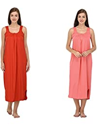 Ishita Fashions Cotton Gown Slip - Cotton Nighty - 2 PCs - Red and Carrot Pink