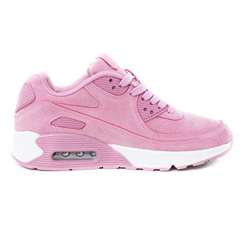 Marimo Trendige Unisex Damen Kinder Herren Laufschuhe Schnür Sneaker Sport Fitness Turnschuhe Pink/Weiß Velouroptik