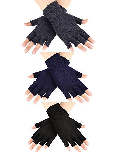 SATINIOR 3 Paar Halb Fingerhandschuhe Winter Fingerlose Handschuhe Strickhandschuhe für Männer Frauen (Farbe Set 1)