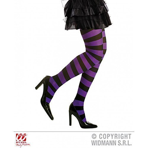 Lively Moments Strumpfhose lila schwarz gestreift für Damen in XL für Fasching / Halloween als Halloweenkostüm oder Hexenkostüm Zubehör (Lila Gestreiften Strumpfhosen Und Schwarz)