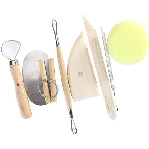 Sonline 8pcs madera y ceramica metal arcilla modeling tool set - bueno ceramica de arcilla diseno flexibilidad enhancer