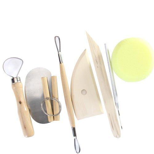 SODIAL(R) 8pcs madera y ceramica metal arcilla modeling tool set - bueno ceramica de arcilla diseno flexibilidad enhancer