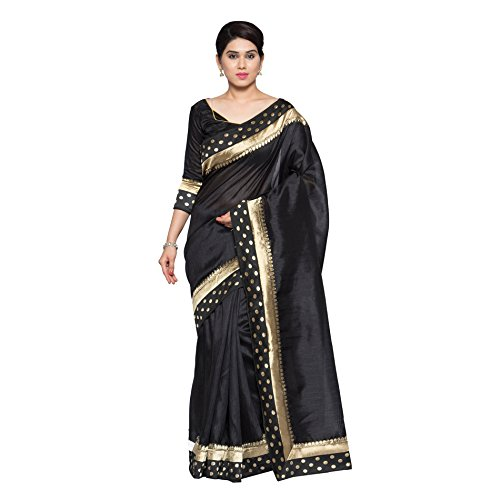 Oomph! Women's Printed Art Silk Sarees - Jet Black