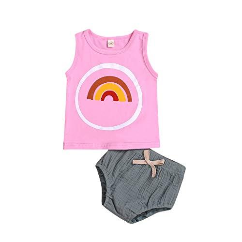 EUCoo_ Kinder (0,5-3 Jahre alt) Kinderkleidung Weibliches Baby Sommer Set Rosa Regenbogen Weste + Graue Shorts Zweiteiliges Westenset