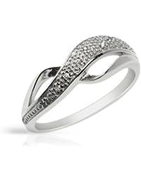 Bijoux pour tous - Anillo de plata de ley con diamante (.036)