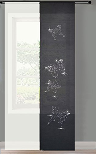 Gardinenbox 2er Set Schiebegardine Flächenvorhang Strass Blickdicht und Voile Paneel Transparent, 245x60, Schwarz Butterfly, 856250