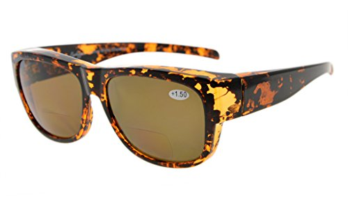 Eyekepper Fitover Polycarbonat Polarisierte Bifokale Sonnenbrillen Sonnenscheinleser, die über regelmäßige Brillen tragen(Schildkröte/Braun Linsen, 2,50)