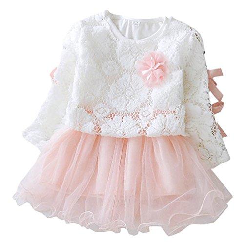 en Kleid Langarm Bowknot Spitze Blumen Prinzessin Kleid Rosa 5/9M (Größe 1-blumen-mädchen-kleid)