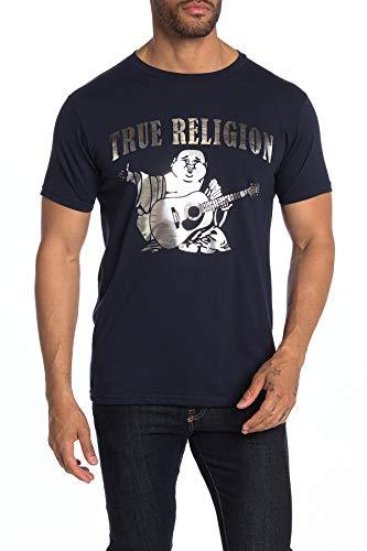True Religion Herren-T-Shirt mit Rundhalsausschnitt, Buddha-Motiv - Blau - Mittel